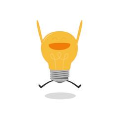 Happy bulb light idea on white background. Vector illustration.