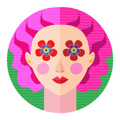 beautiful young girl florist with pink hair and floral eyes flat design vector illustration for logo or greeting card