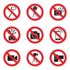 prohibited to take pictures, shoot videos signs, vector illustra