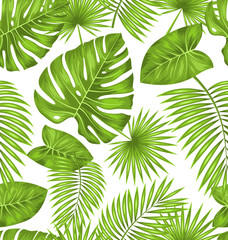 Seamless Texture with Green Tropical Leaves