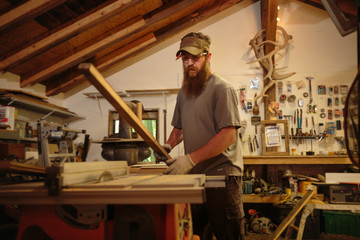 Wood artist in workshop