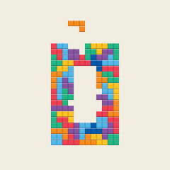 "Logo number ""0"", video game pixel style. Editable vector design."