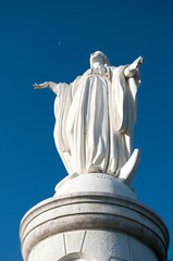 Santiago, Chile - December 18, 2005: Statue of the Virgin Mary on the top of Cerro San Cristobal, documentary editorial