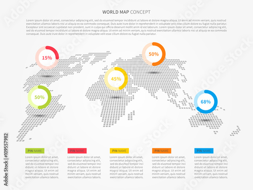 Perspective world map infographic with colorful pointers vector perspective world map infographic with colorful pointers vector illustration modern perspective world map with pins gumiabroncs Gallery