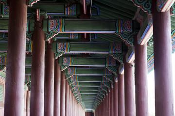 Low angle view of pillars and pagoda ceiling, Korea, Seoul