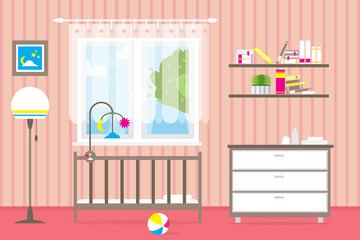 Baby room with furniture. Nursery interior. Window. Style vector illustration.