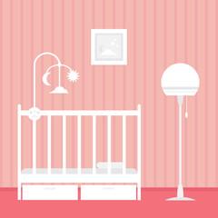 Baby room with furniture. Nursery interior. Style vector illustration.