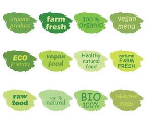 Vector set of healthy organic food labels