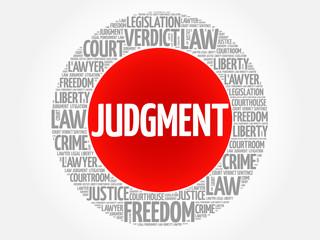 Judgement word cloud concept