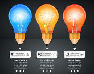 3D Infographic. Bulb and Pencil icon.