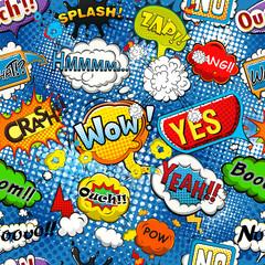 Comic speech bubbles on blue background  seamless pattern illustration