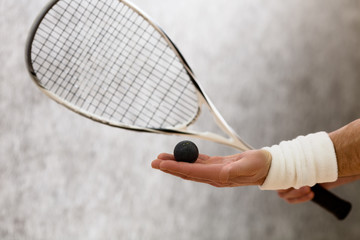 Squash racket closeup