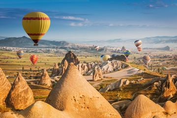 Hot air balloons flying over Cappadocia, Turkey Wall mural