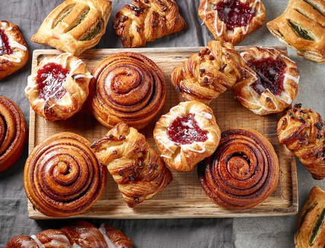 various freshly baked sweet buns