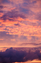 saturated colors colorful sunset . Summers are warm and beautiful sunset . Clouds filled with different colors of the rainbow . the sky as if drawn by an artist's brush