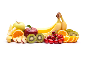 colorful ripe fruit composition isolated on white