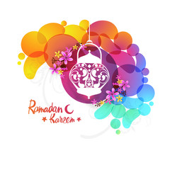 Floral Traditional Lantern with Abstract design for Ramadan Kareem.