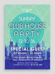 Club House Party Flyer, Dance Party Template, Club Invitation, Vector Illustration.