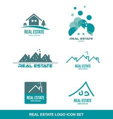 Green real estate logo icon set