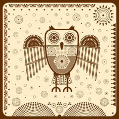 Графическая иллюстрация со стилизованной совой в этнографическом стиле.