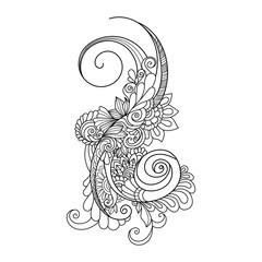 Doodle art flowers.  Zentangle floral pattern. Hand-drawn design element.
