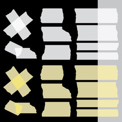 Vector adhesive tapes set on black (dark) background. Isolated. Transparent - tape up object will be see. Eps 10 vector file.