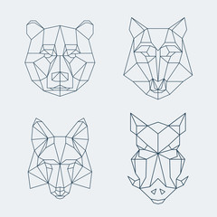 Low poly animals. Bear and wolf, fox or wild boar heads
