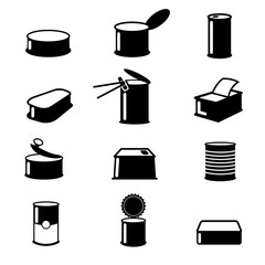 Cans food,canned goods vector icons