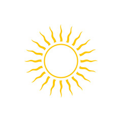 Abstract Yellow Sun Icon, Line Style Design
