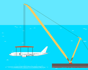 The rise from the bottom of a passenger aircraft using crane barges. Vector illustration