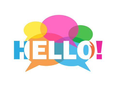 HELLO colourful letters icon with speech bubbles