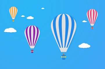 Air balloons in the sky. Modern flat design style. Simple vector icons. Web site page and mobile app design element.