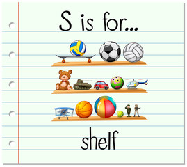 Flashcard alphabet S is for shelf