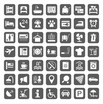 Hotel, hotel services, plain gray icons. Vector, monochrome icons of hotel services. White image on a gray background. Flat style.