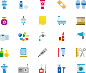 BATHROOM colored flat icons