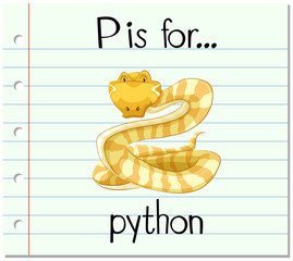 Flashcard letter P is for python