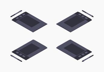 Set of the isometric graphic tablets. The objects are isolated against the white background and shown from different sides