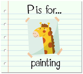 Flashcard letter P is for painting