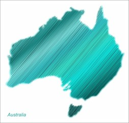 Vector Australia continent hatched and colored