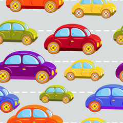 Toy car. Kids cars of all colors of the rainbow. Traffic jams.  Seamless vector pattern.