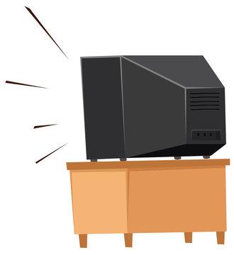 Back of television on shelf