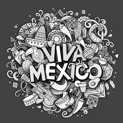 Viva Mexico sketchy outline festive background