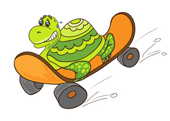 Little turtle on a skateboard. Cartoon character.