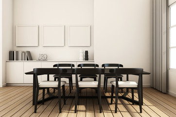 Simple of working and dining set modern - 3D render