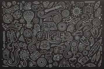 Chalkboard set of hippie object