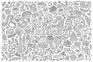 Line art set of holidays object