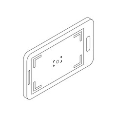 Mobile camera icon, isometric 3d style