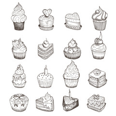 Set of vector sketches of little cakes