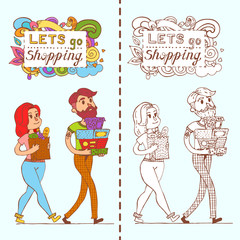 Happy doodle Consumers with a full shopping bags in shop. Shopper. Sales. Funny cartoon character. Vector illustration. Isolated on white background