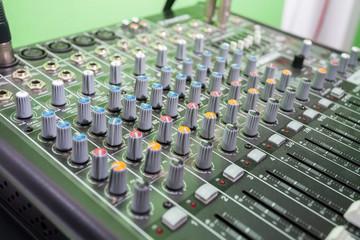 Multi Colored Music Mixer In Recording Studio